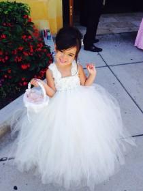 wedding photo - Ivory Flower Girl Dress Shabby Chic Flowers Dress Tulle Dress Wedding Dress Birthday Dress Toddler Tutu Dress 1t 2t 3t 4t 5t Morden Wedding