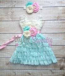 wedding photo - Ivory, light pink, light mint aqua 3 piece set, dress, sash, headband, baby girl outfit, special occasion dress, toddler dress, girls dress,