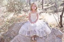 wedding photo - Rustic Flower Girl Dress Cream Lace/Shabby Chic Wedding Wheat Cream Flowergirl/Country Wedding-Burlap Flower Girl-Burlap Cream Belt-Sash