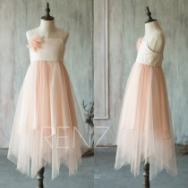 wedding photo - 2015 Blush Pink Junior Bridesmaid Dress, Flower Girl Dress, Spaghetti Rosette dress, Puffy dress (LK060)