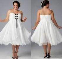 wedding photo - Custom White Plus Size Short Wedding Dresses 2015 With Black Bow Strapless Chiffon Tea Length Simple Bridal Dress Ball Gowns A-Line Cheap Online with $98.8/Piece on Hjklp88's Store