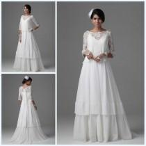 wedding photo - Elegant A-Line Bateau Wedding Dresses with Lace Jacket Tiered Floor Length 2015 Garden Chiffon 3/4 Long Sleeve Wedding Gowns Bridal Ball Online with $123.72/Piece on Hjklp88's Store