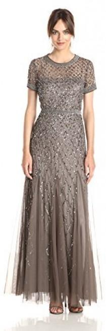 Adrianna Papell Women s Short-Sleeve Beaded Mesh Gown 21d2221fa