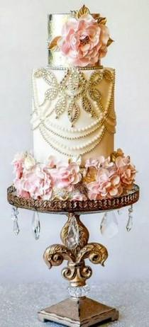 wedding photo - Elegant Cream, Gold And Pink Wedding Cake By Amy Cakes