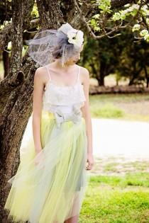 1dac00f90d Bridesmaids Tulle Tutu Gown with Lace collar, Shabby Chic, Rustic, Tutu,  Yellow and Gray