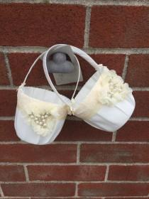 wedding photo - Two Flower girl baskets / ivory or white / chiffon puff with rhinestones / best seller / custom colors