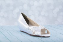 "wedding photo - 1""  Low Heel Shoe - Wedding Shoes  - Choose From Over 200 Color Choices - Custom Wedding Shoe - wedge Shoes - Crystal Wedge  Wedding Shoes"