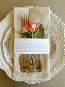 wedding photo - 25 QTY - Wedding Menu Napkin Wraps, Customizable & Affordable