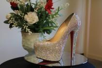 wedding photo - Wedding Shoes, Bridal Shoes, Crystal Shoes, Bling Shoes, Strass Shoes, Strass Shoe Service, Louboutin Shoe Strass Service, Swarovski Shoes