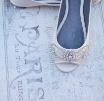 wedding photo - wedding shoes, wedding flats, bridal peep toe flat, Beaded embellished ivory  or white bridal peep toe flat - NOLA ( 8 weeks turnaround )
