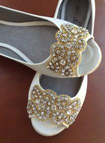 wedding photo - wedding shoes, wedding peep toes flat, wedding shoes, bridal shoes, Gold crystal LEA  bridal peep toe flat adorned with Gold crystal trim