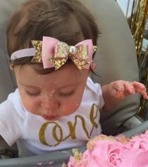 wedding photo - Baby/Girls Pink Gold Glitter Bow Headband/Hair Clip, pink gold birthday bow, Sparkle Bow, Wedding headband by Ruby Lovely Shop