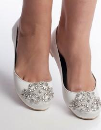 wedding photo - wedding shoes, bridal flat, wedding flat shoes, Oriane bridal flat embelished with rhinestones