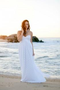wedding photo - Wedding Dress Long Strapless Wedding Gown Bohemian In Lace With Chiffon Custom sizing