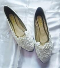 wedding photo - Bridal Shoes Flat Lace Shoes Women's Wedding Shoes Women's Shoes Party shoes prom shoes evening shoes Size 4 5 6 7 8 9 10 11 12 Size 4~12.5