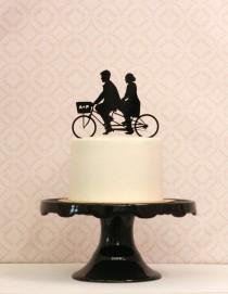 wedding photo - Custom Bike Wedding Cake Topper with Silhouettes on a Tandem Bike Personalized with YOUR Silhouette, Bicycle topper