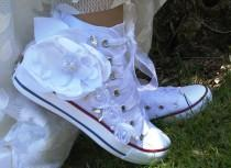 wedding photo -  Wedding Shoes,White Wedding Shoes, Converse Wedding Shoes, Converse with Satin Flower, Wedding Converse, Bridal Converse, White Converse