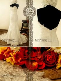 wedding photo - Exquisite Strapless Sweetheart Neckline Trumpet Style Delicate Floral Lace Wedding Dress Features Slight V-Cut Back and Chapel Train