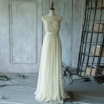 wedding photo - 2015 Off-White Bridesmaid dress, Beige Sweetheart Elegant dress, Strapless Wedding dress, Long Formal dress, Prom dress ( T103)