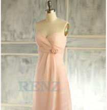 wedding photo - 2015 Peach Bridesmaid dress, Sweetheart dress, Strapless dress, Wedding dress, Party dress, Chiffon dress, Formal dress, Prom dress (B087)