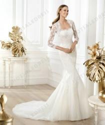 wedding photo - Wedding Dress - Style Pronovias Lanete Tulle Crystal Embroidery Strapless