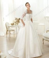 wedding photo - Wedding Dress - Style Pronovias Leslie Lace And Satin And Tulle Embroidery Strapless A-Line