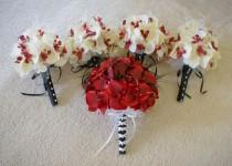 wedding photo - Wedding bouquet set in red real touch orchids and ivory and red orchids, bridal bouquets