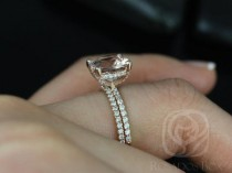 8f1af01567a4 Heidi 9mm 14kt Rose Gold Cushion Morganite And Diamond Basket Wedding Set  (Other Metals And Stone Options Available)