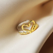 wedding photo - Captain Swan Ring with an heart with the shape of a swan and an hook - 18k Gold & White Gold platted