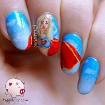 wedding photo - Supergirl To The Rescue! Freehand Nail Art (PiggieLuv)