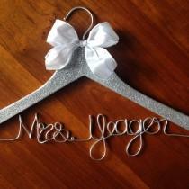 wedding photo - Glitter Hangers. Sparkle Hanger. Mrs Wedding Dress Hanger. Glitter name hanger. Bridal hanger. Future mrs hanger. Wire name hanger