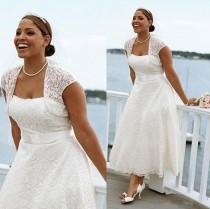 wedding photo - Sexy Plus Size Summer Beach Short Wedding Dresses Lace With Jacket Tea Length Strapless Bridal Ball Gowns Cheap Custom Dress for Wedding Online with $105.03/Piece on Hjklp88's Store