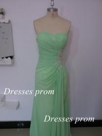 wedding photo - Mint Long Prom Dresses, Custom Mint Strapless Crystal and Chiffon Long Formal Gown, Strapless Sweetheart Mint Long Prom Gown