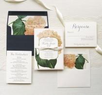 wedding photo - Blush Hydrangea Customizable Modern Wedding Invitations