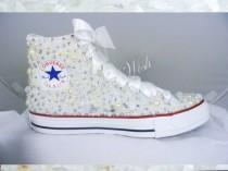 80e82c09968f High top Luxury pearl sparklers   All over converse   Bridal converse   Wedding  converse   pearl converse   bling converse   prom converse