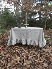wedding photo - READY to SHIP Ruffled Linen Tablecloth Handmade Ruffled Tablecloth Gray Wedding Decor Table Settings French Country French Tablecloth 66x66