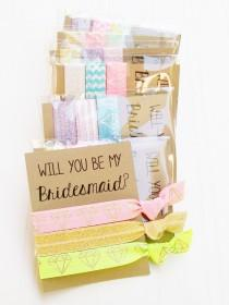 wedding photo - Will You be My Bridesmaid Gift Proposal Card, Be my maid of honor, flowergirl, ponytail holder, hair ties, custom gift card, October Gifts