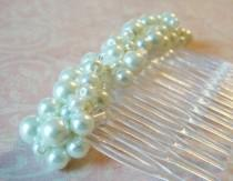 wedding photo - Large White Pearl Haircomb Chunky Pearl Hair Comb Decorative Comb Bridal Updo Hair Accessory Pearl Wedding Hair Decoration Haircomb For Veil