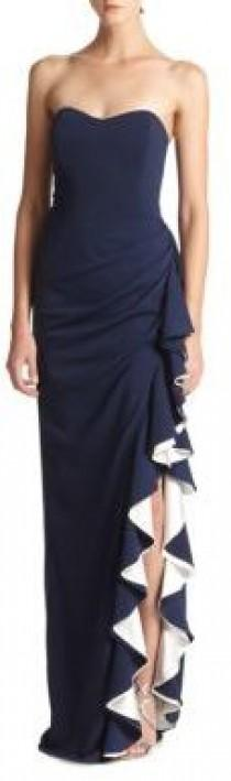 wedding photo - Badgley Mischka Strapless Contrast Ruffle Gown