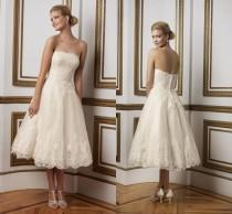 wedding photo - New Arrival Lace Short Wedding Dresses 2016 Beach Strapless Applique Ivory Garden Sleeveless A-Line Bridal Ball Dresses Gowns Knee Length Online with $109.48/Piece on Hjklp88's Store