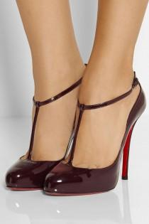 wedding photo - Christian Louboutin DITASSIMA Patent T Strap Heel Pumps Shoes Burgundy Wine $895