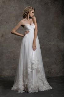 wedding photo - Strapless A line Asymmetric Skirt With Lace Trim Bridal Wedding Dress