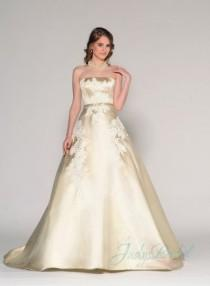 wedding photo - Elegant gold color strapless simple 2016 wedding dress