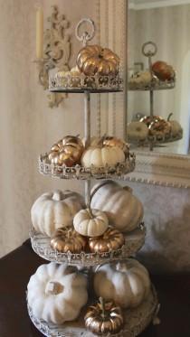 wedding photo - Gold Painted Pumpkins