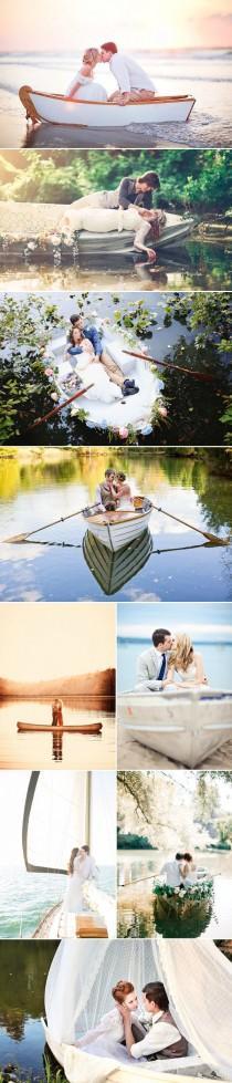 wedding photo - Romantic Love-Boat Engagement Photo Ideas