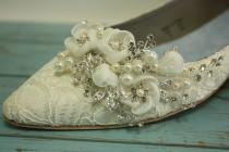 wedding photo - Lace Wedding Shoes - Flat Closed Toe Lace Shoes - Pearls Crystals - Ivory Wedding Lace Flats - Comfortable Flat Lace Wedding Shoes- Parisxox