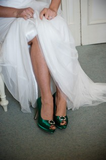 wedding photo -  Emerald Green Wedding Shoes- Green Irish Wedding Platform Heels With Crystal - Choose From Over 200 Colors- Open Toe Platform Wedding Heels