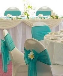 wedding photo - How To Decorate Wedding Reception Chairs - Tiffany Style