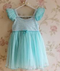 wedding photo - Frozen Birthday Dress, Blue Sparkle Glitter Princess Dress , Aqua Wedding Flower Girl Dress, Frozen Tutu Dress