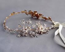 wedding photo - Floral hair vine, wedding headband, bridal headpiece, Wedding halo, Pearl  rhinestone headband, Ribbon, Gold ,Nature inspired